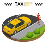 Taxi service 24h concept. Young woman raising her arm to call a taxi Stock Images