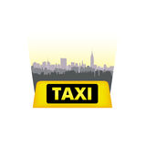 Taxi service header. Taxi sign city background. Call taxi citysc Stock Images