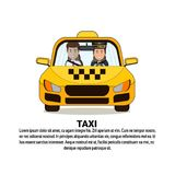 Taxi Service Icon Driver And Male Passenger In Yellow Cab Automobile Car Over Background With Copy Space. Flat Vector Illustration Stock Images