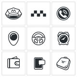 Taxi Service icons set. Vector Illustration. Stock Photo