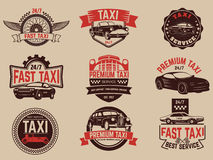 Taxi service labels and emblems template. Taxi service. Stock Photo