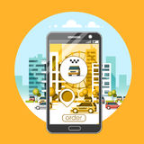 Taxi service mobile application. City skyscrapers building skyline with car on smart phone. Flat vector illustration. Taxi service mobile application. City Stock Image