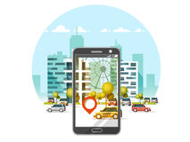 Taxi service mobile application. City skyscrapers building skyline with car on smart phone. Navigate application. Flat vector illustration Stock Photography