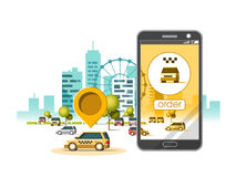 Taxi service mobile application. City skyscrapers building skyline with car on smart phone. Navigate application. Flat vector illustration Royalty Free Stock Photo