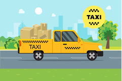 Taxi Service Moving Car on a Landscape Background. Vector Stock Photography