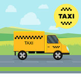 Taxi Service Moving Car on a Landscape Background. Vector Stock Image