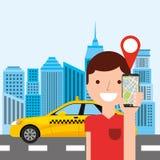 Taxi service public transport app technology. Vector illustration design Stock Image