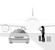 Taxi service scene. Vector silhouette people in the airport background Royalty Free Stock Images