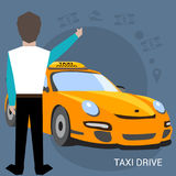 Taxi service. Smartphone and touch screen. Cartoon poster vector illustration. Banners for your web design in business. Style. Template for your text. Business Royalty Free Stock Images