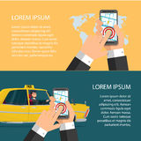 Taxi service. Smartphone and touchscreen, city skyscrapers. Cartoon poster vector illustration. Banners for your web design in business style. Template for Royalty Free Stock Images