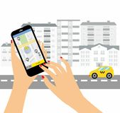 Taxi service. Smartphone and touchscreen, city skyscrapers.Transportation network app, calling a cab by mobile phone concept. Stock Images