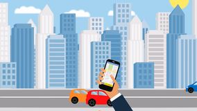 Taxi service. Smartphone and touchscreen, city skyscrapers. Transportation network app, calling a cab by mobile phone concept. royalty free illustration