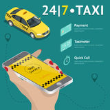 Taxi service. Taxi mobile app template set. Smartphone and touchscreen, map and pointer, gps navigation. Vector Stock Photos