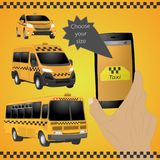Taxi service. Yellow taxi cab. Hands with smartphone and taxi application. vector drawing illustration Stock Image