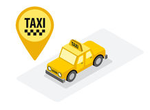 Taxi service yellow isometric car vector Royalty Free Stock Photo