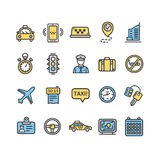 Taxi Services Color Icon Thin Line Set. Vector Royalty Free Stock Photo