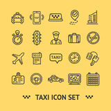 Taxi Services Icon Thin Line Set. Vector Royalty Free Stock Photos