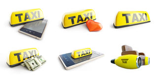 Taxi set 3D illustration. On a white background Stock Photo