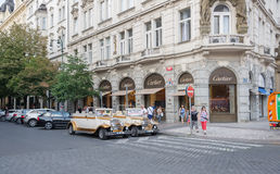 Taxi and Shopping in Prague - Czech Republic Stock Image