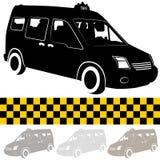 taxi Shuttle范・ Silhouette 库存图片