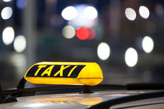Taxi sign. On the roof of a german cab at the airport Stock Images