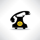 Taxi sign. Call taxi icon. Retro phone with circle taxi emblem stock illustration