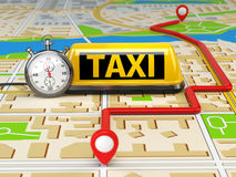 Taxi sign on the city map with stopwatch and route. Concept of t Stock Images