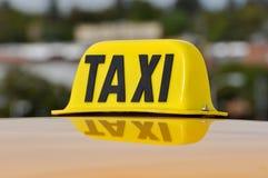 Taxi Sign Close Up. Taxi Cab Car Roof Sign Close Up Stock Image