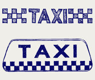 Taxi sign. Doodle style Stock Images