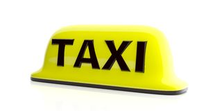 Taxi sign isolated on white background. 3d illustration Royalty Free Stock Photography