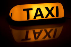Taxi sign. Lighting Taxi for use on the car Royalty Free Stock Images