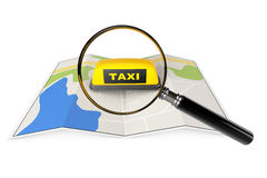 Taxi Sign with Magnifier over Map Royalty Free Stock Image