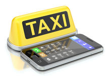 Taxi sign and mobile Stock Photography