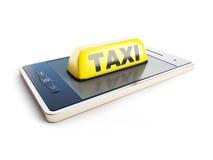 Taxi sign mobile phone Stock Photos