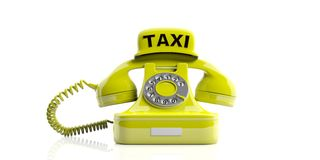 Taxi sign and old telephone isolated on white background. 3d illustration Royalty Free Stock Photography