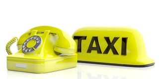 Taxi sign and old telephone isolated on white background. 3d illustration Stock Image