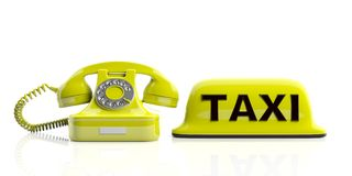 Taxi sign and old telephone isolated on white background. 3d illustration Royalty Free Stock Photo