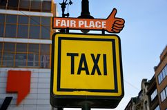 Taxi sign, Prague. Czech Republic Royalty Free Stock Photo