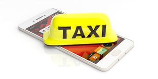 Taxi sign and a smartphone on white background. 3d illustration Royalty Free Stock Photography