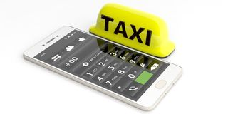 Taxi sign and a smartphone on white background. 3d illustration Royalty Free Stock Photos