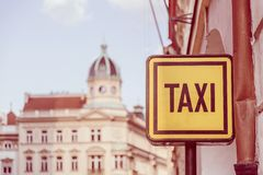 Taxi sign on the street in Prague. Tourism and travel concept. T. Oned selective focus image Royalty Free Stock Photo