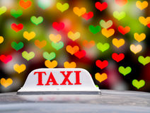 Taxi Sign. On Valentines night in Bangkok Stock Photos