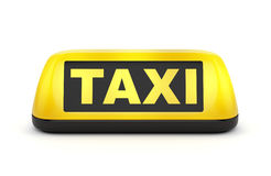 Taxi sign. Yellow taxi automobile sign isolated on white background Stock Photo