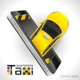 Taxi Smartphone Photos libres de droits