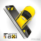 Taxi Smartphone. Yellow car taxi leaves from the screen of your smartphone Royalty Free Stock Photos