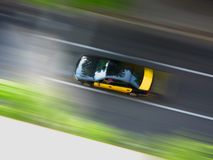 Taxi at speed. Taxi in Barcelona, Spain Royalty Free Stock Image