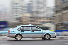 Taxi on speed on the expressway, Dalian, China Stock Photos