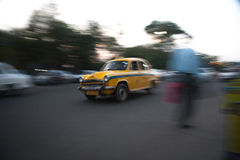 Taxi at speed in Kolkata Stock Photography