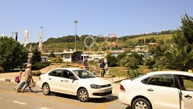 Taxi stand in front of Sochi International Airport. Sochi, Russia - August 22, 2013: Taxi stand in front of Sochi International Airport Royalty Free Stock Photo