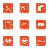 Taxi stand icons set, grunge style. Taxi stand icons set. Grunge set of 9 taxi stand vector icons for web isolated on white background royalty free illustration
